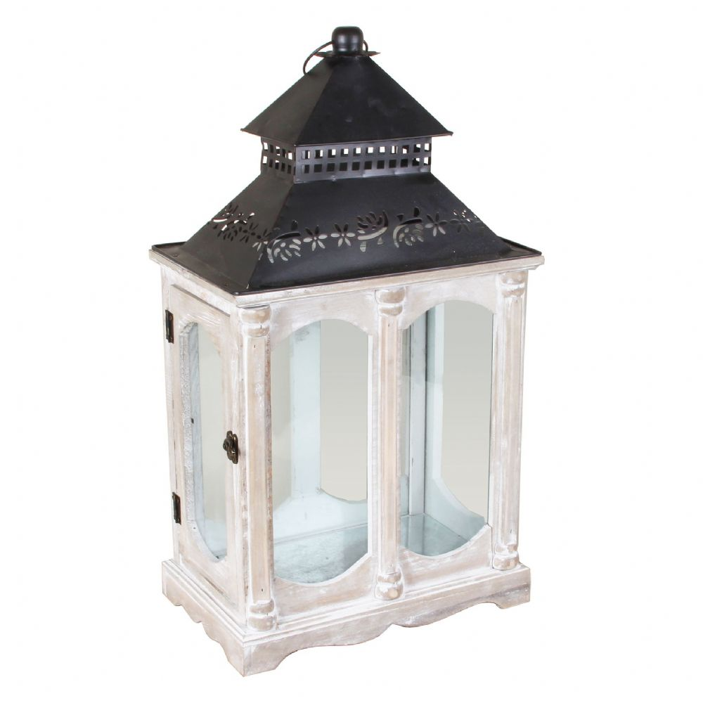 Country Living Large Wooden & Metal Lantern - Shabby Chic Decorative Lantern